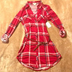 Belted red plaid dress.